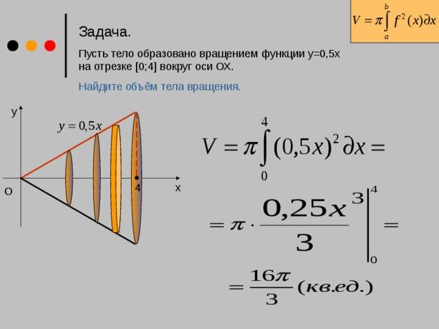 Задача.  Пусть тело образовано вращением функции у=0,5x  на отрезке [0;4] вокруг оси ОХ. Найдите объём тела вращения. y x 4 O