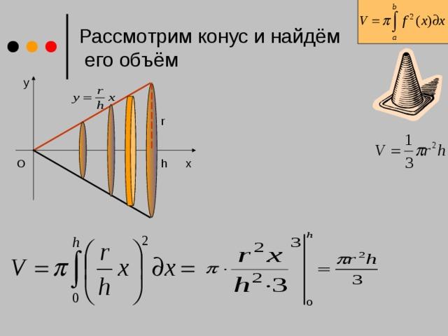 Рассмотрим конус и найдём  его объём y r h O x