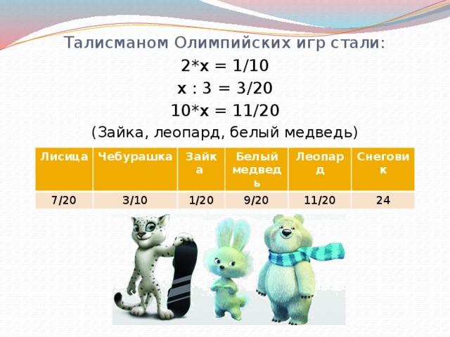 Талисманом Олимпийских игр стали: 2*x = 1/10 x : 3 = 3/20 10*x = 11/20 (Зайка, леопард, белый медведь) Лисица 7/20 Чебурашка 3/10 Зайка 1/20 Белый медведь 9/20 Леопард 11/20 Снеговик 24