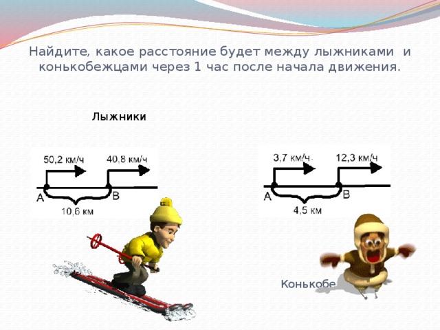 Найдите, какое расстояние будет между лыжниками и конькобежцами через 1 час после начала движения.   Лыжники Конькобежцы