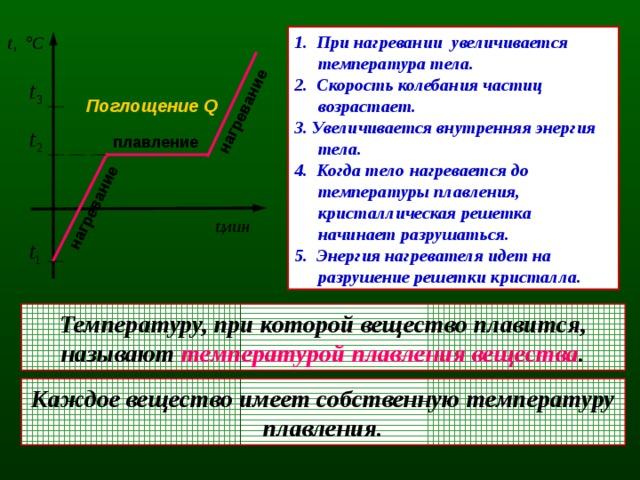 нагревание нагревание 1. При нагревании увеличивается температура тела. 2. Скорость колебания частиц возрастает. 3. Увеличивается внутренняя энергия тела. 4. Когда тело нагревается до температуры плавления, кристаллическая решетка начинает разрушаться. 5. Энергия нагревателя идет на разрушение решетки кристалла. Поглощение Q плавление Температуру, при которой вещество плавится, называют температурой плавления вещества . Каждое вещество имеет собственную температуру плавления.