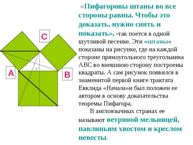 « Пифагоровы штаны во все стороны равны. Чтобы это доказать, нужно снять и показать», -так поется в одной шутливой песенке. Эти « штаны » показаны на рисунке, где на каждой стороне прямоугольного треугольника АВС во внешнюю сторону построены квадраты. А сам рисунок появился в знаменитой первой книге трактата Евклида «Начала»и был положен ее автором в основу доказательства теоремы Пифагора.  В англоязычных странах ее называют ветряной мельницей, павлиньим хвостом и креслом невесты . C A B