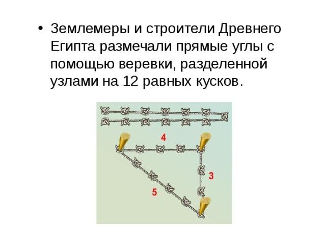Землемеры и строители Древнего Египта размечали прямые углы с помощью веревки, разделенной узлами на 12 равных кусков.  Посмотри!