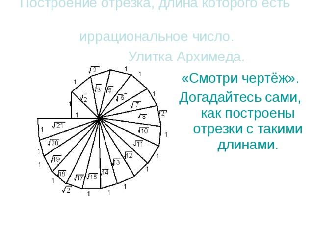 Построение отрезка, длина которого есть иррациональное число.  Улитка Архимеда.  «Смотри чертёж». Догадайтесь сами, как построены отрезки с такими длинами.