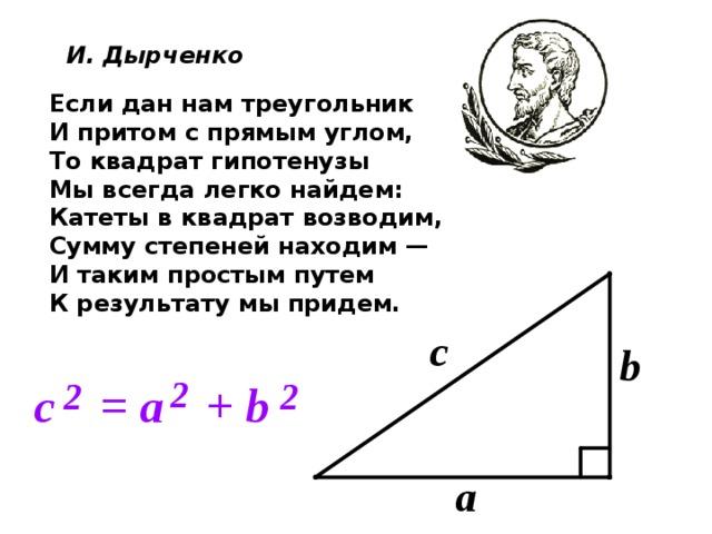 И. Дырченко Если дан нам треугольник И притом с прямым углом, То квадрат гипотенузы Мы всегда легко найдем: Катеты в квадрат возводим, Сумму степеней находим — И таким простым путем К результату мы придем.