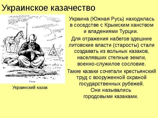 Украинское казачество Украина (Южная Русь) находилась  в соседстве с Крымским ханством  и владениями Турции. Для отражения набегов здешние литовские власти (старосты) стали создавать из вольных казаков, населявших степные земли,  военно-служилое сословие. Такие казаки сочетали крестьянский труд с вооруженной охраной государственных рубежей.  Они назывались  городовыми казаками. Украинский казак