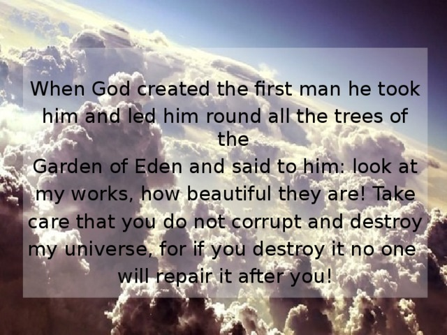 When God created the first man he took him and led him round all the trees of the Garden of Eden and said to him: look at my works, how beautiful they are! Take care that you do not corrupt and destroy my universe, for if you destroy it no one will repair it after you!
