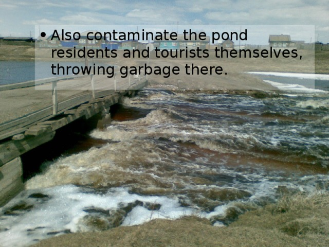 Also contaminate the pond residents and tourists themselves, throwing garbage there.
