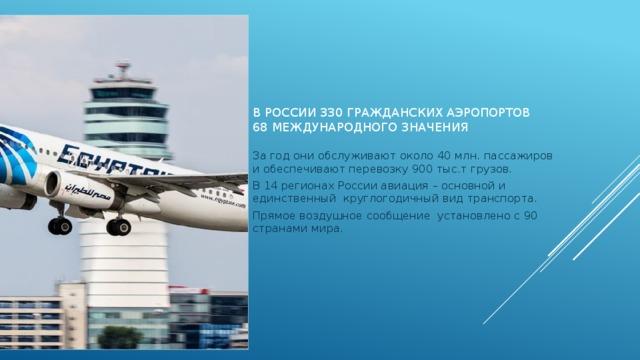 В России 330 гражданских аэропортов  68 международного значения За год они обслуживают около 40 млн. пассажиров и обеспечивают перевозку 900 тыс.т грузов. В 14 регионах России авиация – основной и единственный круглогодичный вид транспорта. Прямое воздушное сообщение установлено с 90 странами мира.