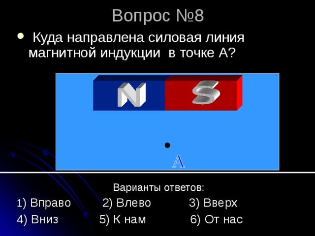 Вопрос №8  Куда направлена силовая линия магнитной индукции в точке А?   Варианты ответов: 1 ) Вправо 2) Влево 3) Вверх 4) Вниз 5) К нам 6) От нас
