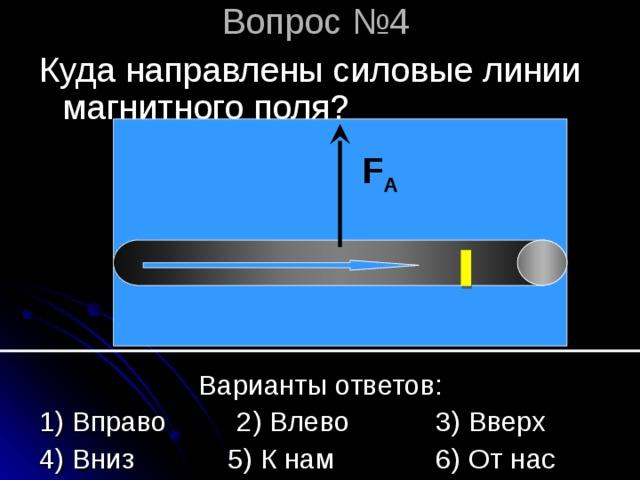 Вопрос №4 Куда направлены силовые линии магнитного поля? F A