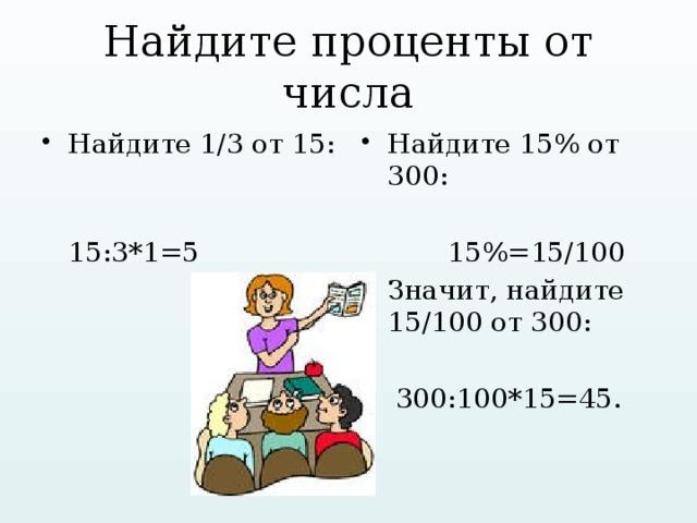 Найдите проценты от числа Найдите 1/3 от 15: Найдите 15% от 300:  15:3*1=5  15%=15/100 Значит, найдите 15/100 от 300:  300:100*15=45.