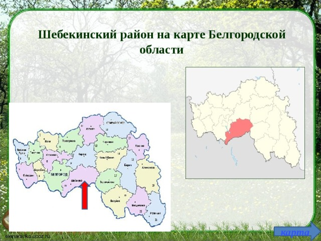 Шебекинский район на карте Белгородской области карта