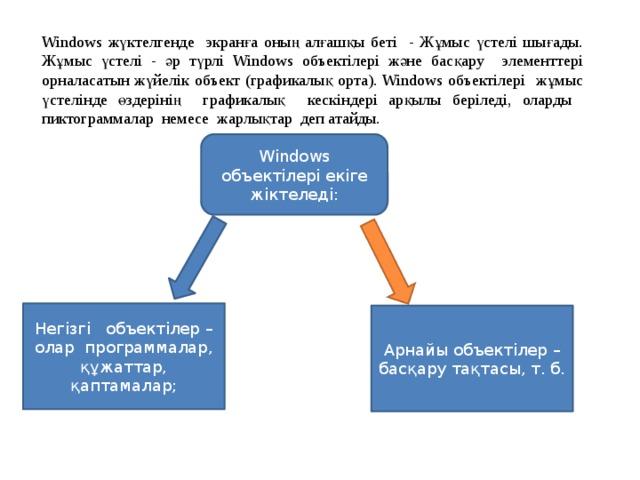 Windows жүктелгенде экранға оның алғашқы беті - Жұмыс үстелі шығады. Жұмыс үстелі - әр түрлі Windows объектілері және басқару элементтері орналасатын жүйелік объект (графикалық орта). Windows объектілері жұмыс үстелінде өздерінің графикалық кескіндері арқылы беріледі, оларды пиктограммалар немесе жарлықтар деп атайды. Windows объектілері екіге жіктеледі: Негізгі объектілер – олар программалар, құжаттар, қаптамалар; Арнайы объектілер – басқару тақтасы, т. б.