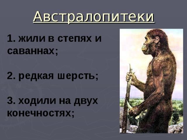 Австралопитеки 1. жили в степях и саваннах;  2. редкая шерсть;  3. ходили на двух конечностях;