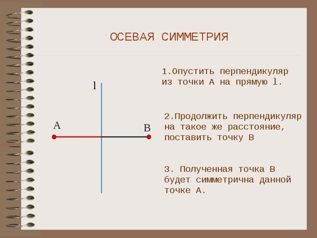 ОСЕВАЯ СИММЕТРИЯ 1.Опустить перпендикуляр из точки А на прямую l. l 2.Продолжить перпендикуляр на такое же расстояние, поставить точку В А В 3. Полученная точка В будет симметрична данной точке А.