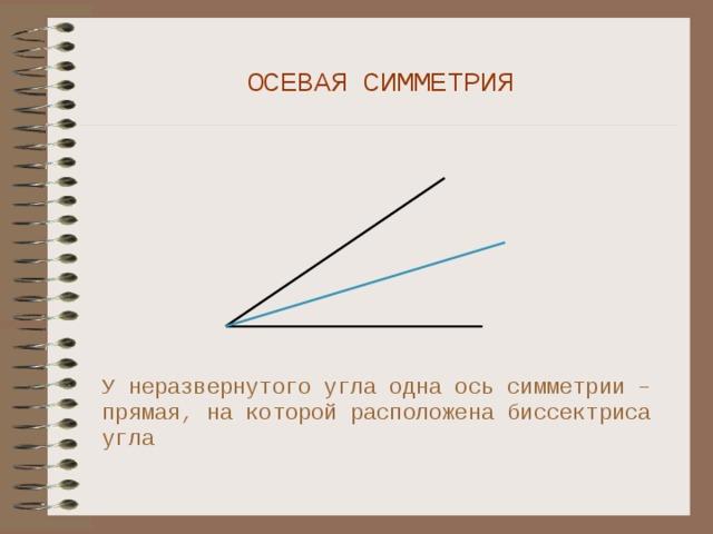 ОСЕВАЯ СИММЕТРИЯ У неразвернутого угла одна ось симметрии – прямая, на которой расположена биссектриса угла