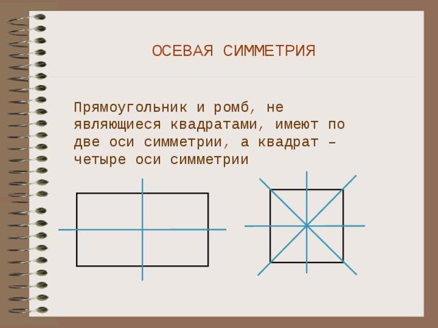 ОСЕВАЯ СИММЕТРИЯ Прямоугольник и ромб, не являющиеся квадратами, имеют по две оси симметрии, а квадрат – четыре оси симметрии