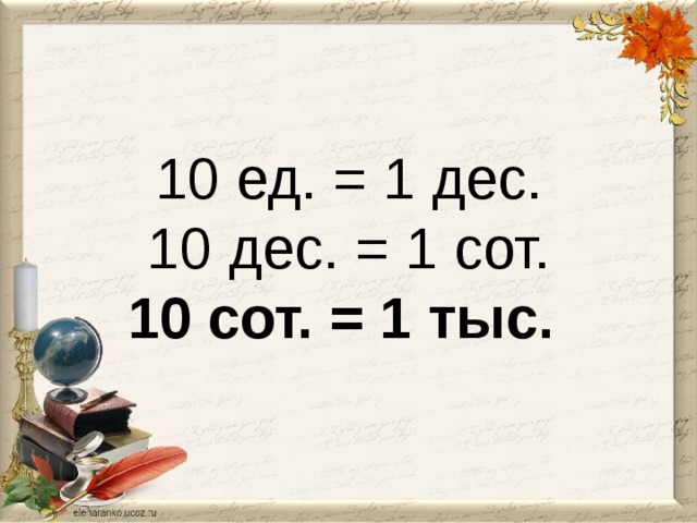 10 ед. = 1 дес.  10 дес. = 1 сот.  10 сот. = 1 тыс.