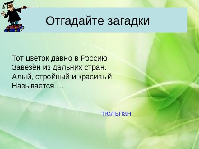 Отгадайте загадки Тот цветок давно в Россию Завезён из дальних стран. Алый, стройный и красивый, Называется …  тюльпан