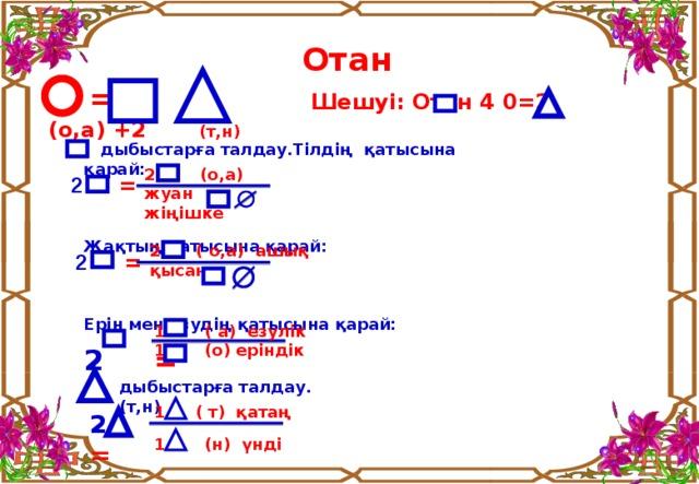 Отан  = + Шешуі: Отан 4  0 = 2 (o,a) +2 ( т , н )  дыбыстарға талдау.Тілдің қатысына қарай:    Жақтың қатысына қарай:    Ерін мен езудің қатысына қарай:         2 =    2   (o,a) жуан жіңішке   2 =  (  o,a) ашық қысаң  2 = 1 (  a) езулік 1 (о) еріндік дыбыстарға талдау. (т,н)  ( т ) қатаң             1 (н) үнді               2 =
