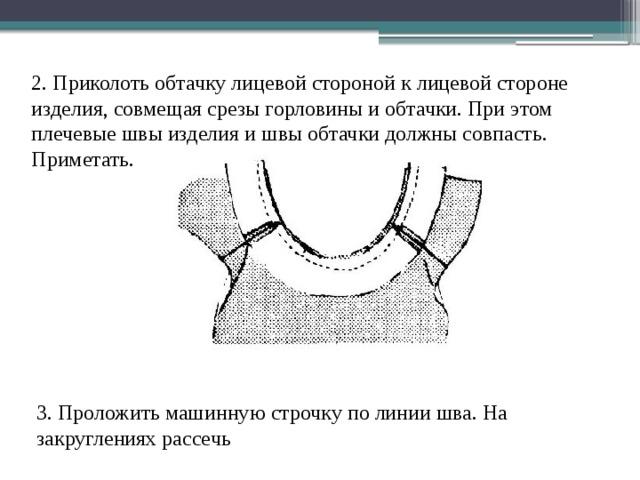 2. Приколоть обтачку лицевой стороной к лицевой стороне изделия, совмещая срезы горловины и обтачки. При этом плечевые швы изделия и швы обтачки должны совпасть. Приметать. 3. Проложить машинную строчку по линии шва. На закруглениях рассечь
