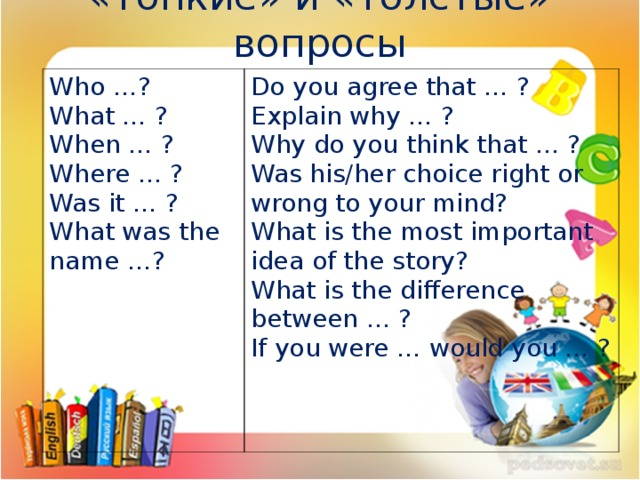 «Тонкие» и «толстые» вопросы Who …? What … ? When … ? Where … ? Was it … ? What was the name …? Do you agree that … ? Explain why … ? Why do you think that … ? Was his/her choice right or wrong to your mind? What is the most important idea of the story? What is the difference between … ? If you were … would you … ?