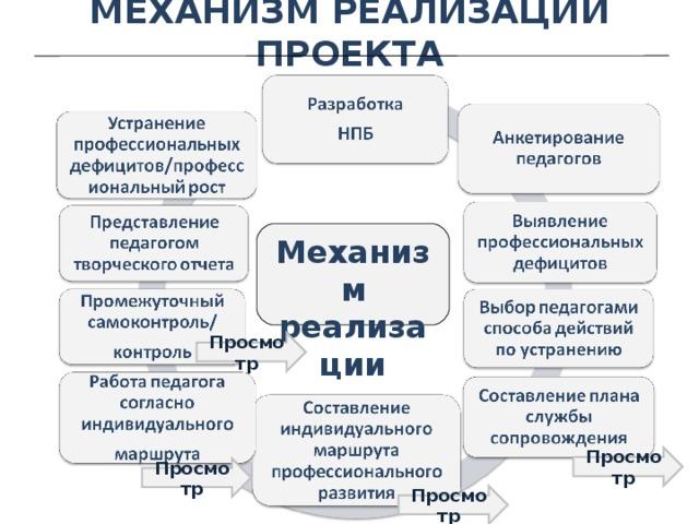 МЕХАНИЗМ РЕАЛИЗАЦИИ ПРОЕКТА Механизм реализации Просмотр Просмотр Просмотр Просмотр