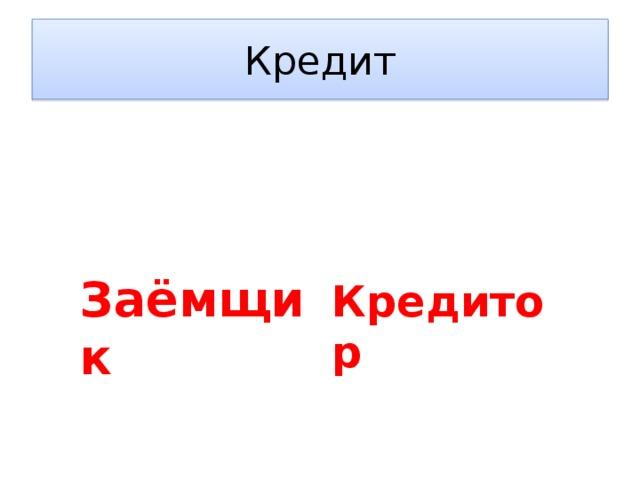 Кредит Заёмщик Кредитор