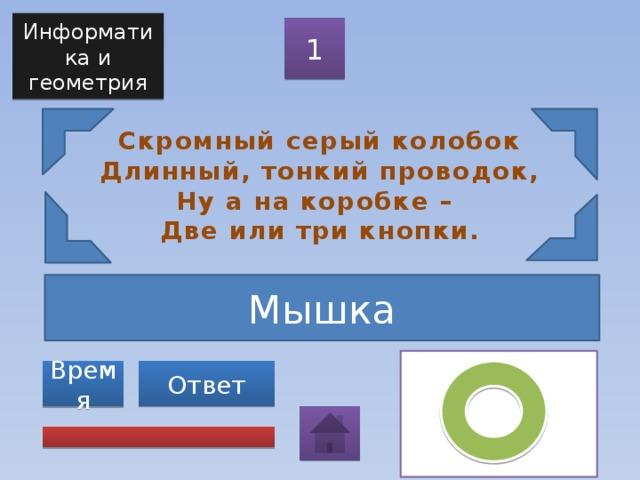 Информатика и геометрия 1 Скромный серый колобок  Длинный, тонкий проводок,  Ну а на коробке –  Две или три кнопки. Мышка Ответ Время