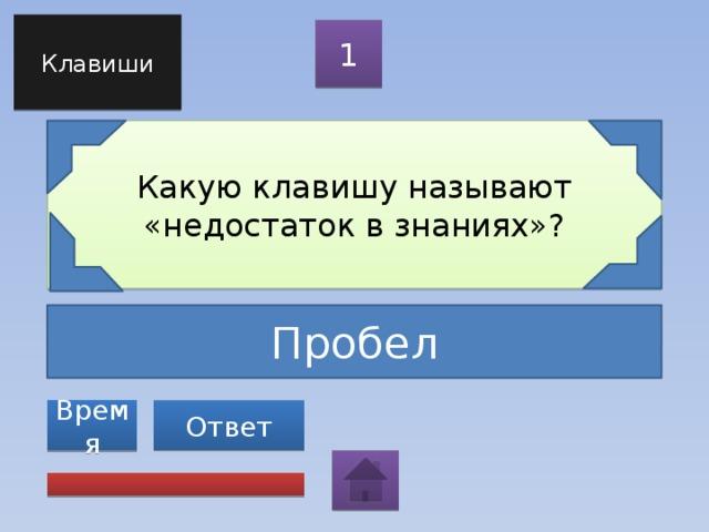 Клавиши 1 Какую клавишу называют «недостаток в знаниях»? Пробел Ответ Время
