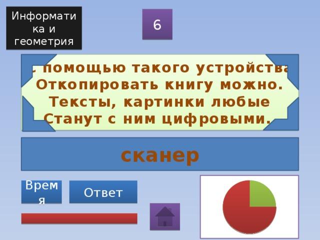 Информатика и геометрия 6 С помощью такого устройства  Откопировать книгу можно.  Тексты, картинки любые  Станут с ним цифровыми. сканер Ответ Время