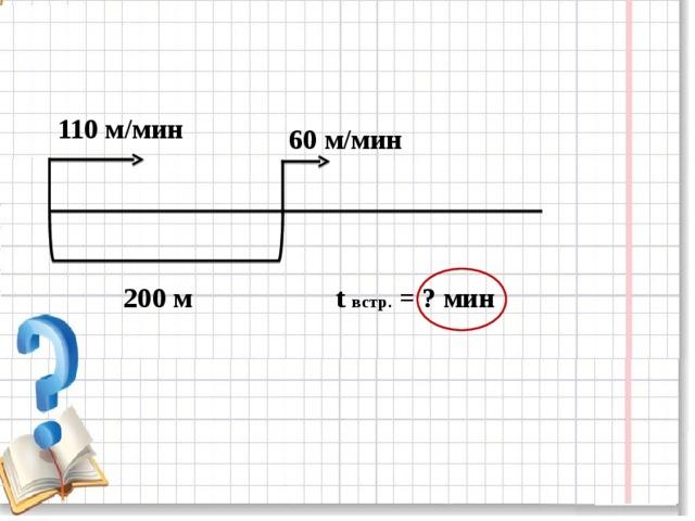 110 м/мин 60 м/мин 200 м t  встр. = ? мин
