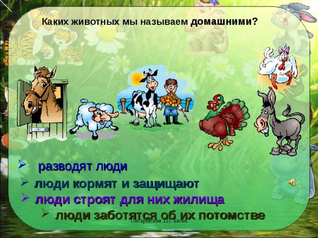 Каких животных мы называем домашними?  разводят люди  люди кормят и защищают  люди строят для них жилища  люди заботятся об их потомстве Писаревская Т.П. Баган