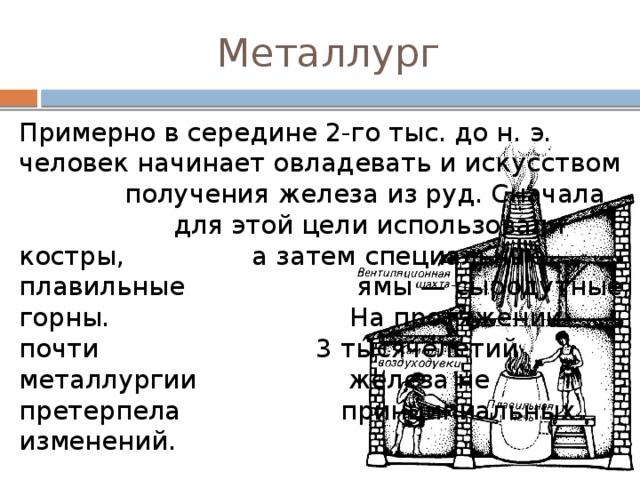 Металлург Примерно в середине 2-го тыс. до н. э. человек начинает овладевать и искусством  получения железа из руд. Сначала    для этой цели использовали костры,    а затем специальные плавильные    ямы — сыродутные горны.     На протяжении почти       3 тысячелетий металлургии     железа не претерпела    принципиальных изменений.