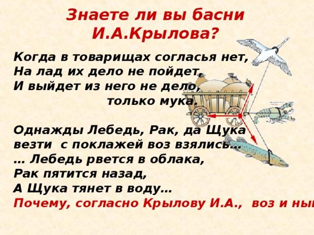 Знаете ли вы басни И.А.Крылова? Когда в товарищах согласья нет, На лад их дело не пойдет, И выйдет из него не дело,  только мука.  Однажды Лебедь, Рак, да Щука везти с поклажей воз взялись… … Лебедь рвется в облака, Рак пятится назад, А Щука тянет в воду… Почему, согласно Крылову И.А., воз и ныне там?