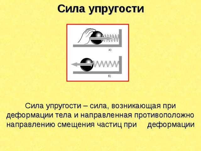 Сила упругости  Сила упругости – сила, возникающая при деформации тела и направленная противоположно направлению смещения частиц при деформации