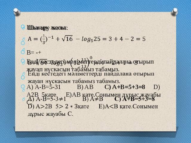 Шығару жолы:   B= -+ Енді кестедегі мәліметтерді пайдалана отырып жауап нүскасын табамыз табамыз.  А) А-В=5-31 B) AB C) A+B=5+3=8 D) A2B 5қате E)AB қате.Сонымен дұрыс жауабы С.