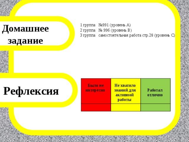 Домашнее задание 1 группа №991 (уровень А) 2 группа № 996 (уровень В) 3 группа  самостоятельная работа стр.28 (уровень С) Рефлексия    Было не  интересно   Не хватило  знаний для   активной  Работал  работы  отлично