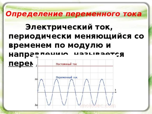 Определение переменного тока  Электрический ток, периодически меняющийся со временем по модулю и направлению, называется переменным током .