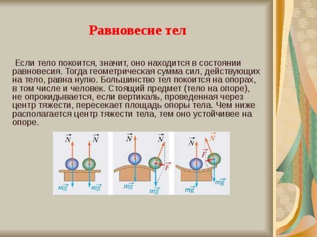 Равновесие тел  Если тело покоится, значит, оно находится в состоянии равновесия. Тогда геометрическая сумма сил, действующих на тело, равна нулю. Большинство тел покоится на опорах, в том числе и человек. Стоящий предмет (тело на опоре), не опрокидывается, если вертикаль, проведенная через центр тяжести, пересекает площадь опоры тела. Чем ниже располагается центр тяжести тела, тем оно устойчивее на опоре.