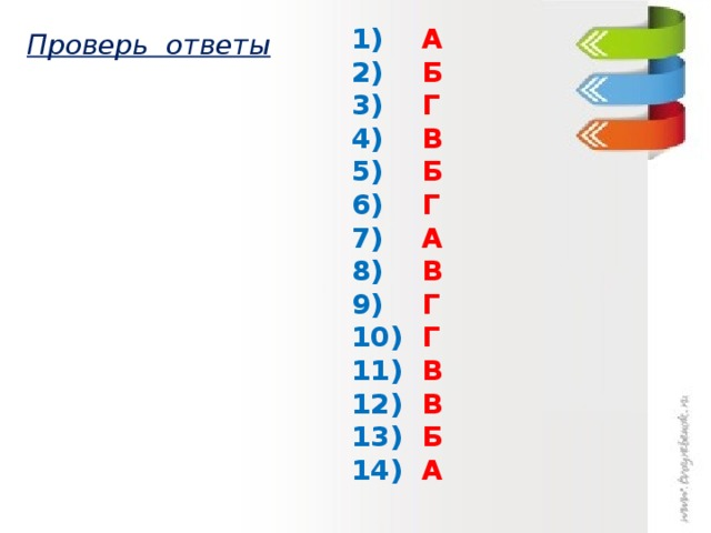 1) А 2) Б 3) Г 4) В 5) Б 6) Г 7) А 8) В 9) Г 10) Г 11) В 12) В 13) Б 14)   А  Проверь ответы