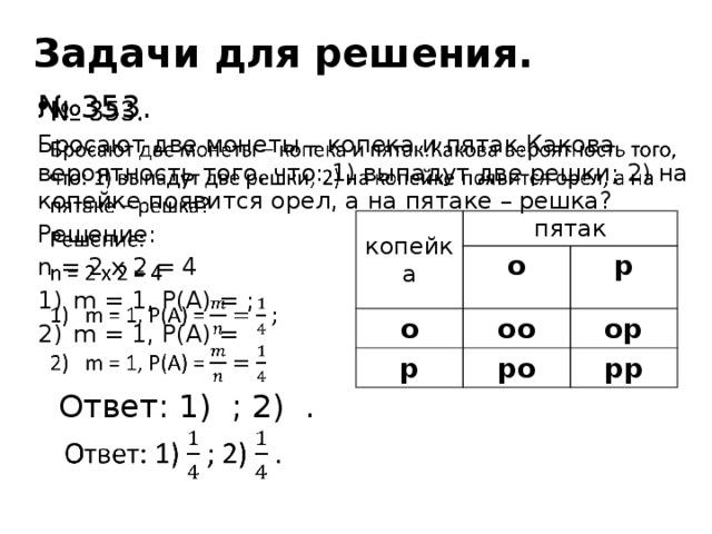 Задачи для решения. № 353.  Бросают две монеты – копека и пятак.Какова вероятность того, что: 1) выпадут две решки; 2) на копейке появится орел, а на пятаке – решка? Решение: n = 2 x 2 = 4 m = 1, P(A) = ; m = 1, P(A) =  Ответ: 1) ; 2) . копейка пятак о о оо р р ор ро рр