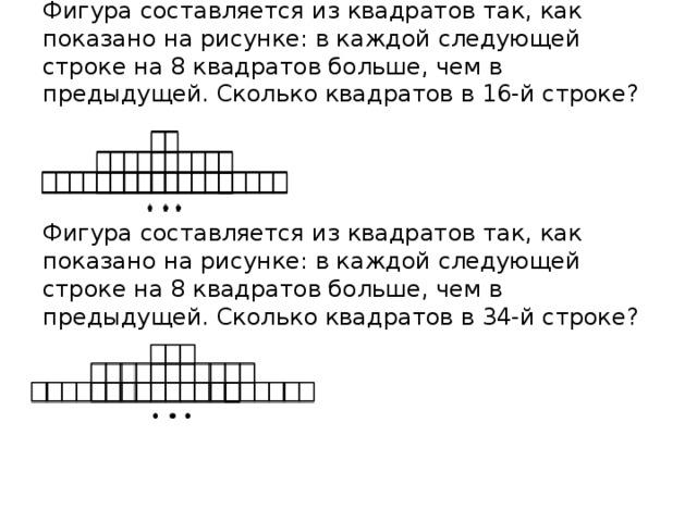Фигура составляется из квадратов так, как показано на рисунке: в каждой следующей строке на 8 квадратов больше, чем в предыдущей. Сколько квадратов в 16-й строке?      Фигура составляется из квадратов так, как показано на рисунке: в каждой следующей строке на 8 квадратов больше, чем в предыдущей. Сколько квадратов в 34-й строке?