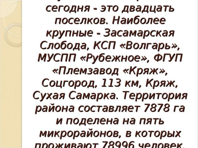 Куйбышевский район сегодня - это двадцать поселков. Наиболее крупные - Засамарская Слобода, КСП «Волгарь», МУСПП «Рубежное», ФГУП «Племзавод «Кряж», Соцгород, 113 км, Кряж, Сухая Самарка. Территория района составляет 7878 га и поделена на пять микрорайонов, в которых проживают 78996 человек.