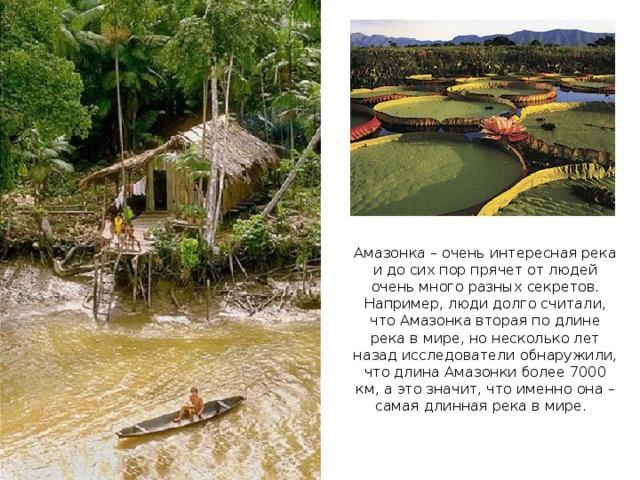 Амазонка – очень интересная река и до сих пор прячет от людей очень много разных секретов. Например, люди долго считали, что Амазонка вторая по длине река в мире, но несколько лет назад исследователи обнаружили, что длина Амазонки более 7000 км, а это значит, что именно она – самая длинная река в мире.
