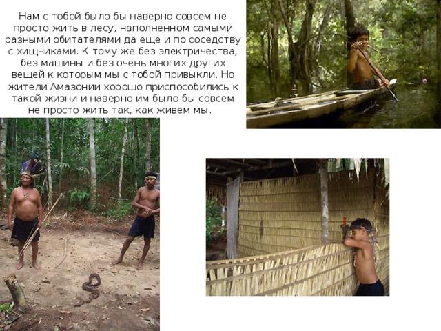 Нам с тобой было бы наверно совсем не просто жить в лесу, наполненном самыми разными обитателями да еще и по соседству с хищниками. К тому же без электричества, без машины и без очень многих других вещей к которым мы с тобой привыкли. Но жители Амазонии хорошо приспособились к такой жизни и наверно им было-бы совсем не просто жить так, как живем мы.