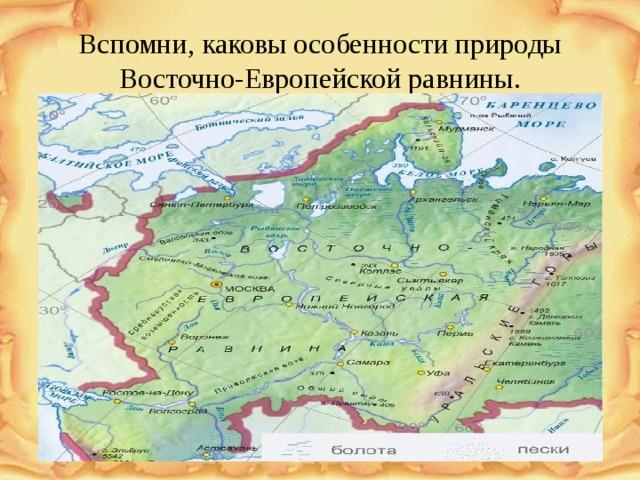 Вспомни, каковы особенности природы Восточно-Европейской равнины.