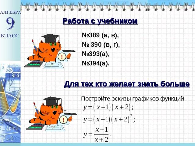 Работа с учебником № 389 (а, в), № 390 (в, г), № 393(а), № 394(а). ! Для тех кто желает знать больше Постройте эскизы графиков функций !