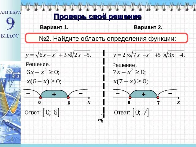 Проверь своё решение Вариант 1. Вариант 2. № 2. Найдите область определения функции: Решение. Решение. – – – – + + x x 0 0 6 7 Ответ: Ответ: